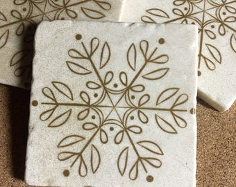 Snowflake Coasters ~ Set Of 4 ~ Glittler Snowflake ~ Christmas Coasters ~  Winter Coasters ~