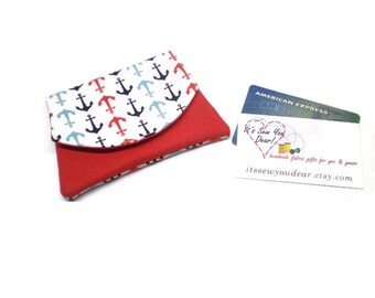Small anchors women cards wallet, business card holder, hook and loop fastener closure, navy red and white, vegan, minimalist.