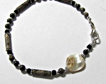 Feuille d'argent jaspe cheville, mère de perle point focal, chaîne de cheville en perles, bijoux de pied, cheville de pierres précieuses, bijoux de corps, taille 9 pouces #1383
