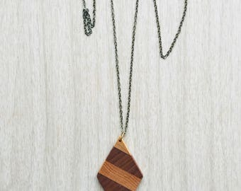 Diamond Wooden Necklace