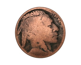 6 Indian Head 5/8 inch ( 15 mm ) Metal Buttons Antique Copper Color