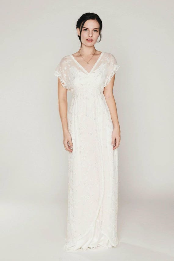 Beaded & embroidered silk chiffon Boho-style bridal gown