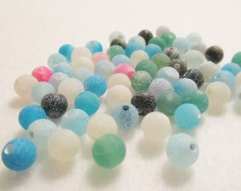 65 Mixed Color Dream Fire Dragon Veins Agate Round Beads, 6mm, Jewelry Making Supplies, Agate Beads