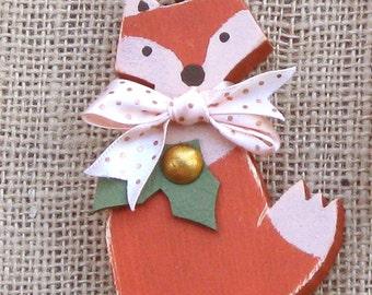 Wood Fox Ornament, Wooden Ornament, Holiday Ornament, Fox Christmas Ornament, Rustic Woodland Ornament, Wooden Fox, Wood Animal Ornament
