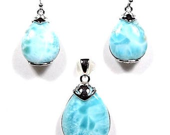 100% Real Larimar with 925 Sterling Silver Necklace Pendant & Earrings Set. Free 18'' silver chain. OP88-1