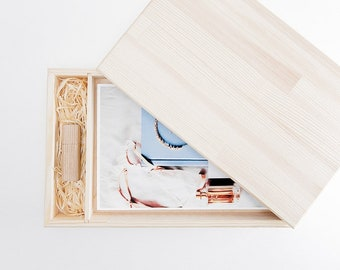 """Photographers packaging wooden box usb flash drive free personalization photos 6x8"""""""