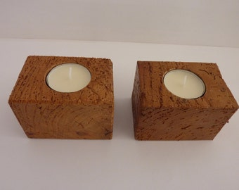 Wooden Handmade Tea Light Candle Holders,Recycled Ash ,Sold as a Pair.Ideal Gift.