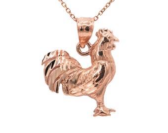 10k Rose Gold Rooster Necklace