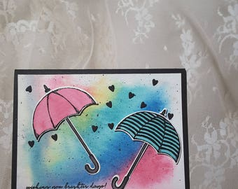 watercolor umbrella card