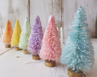 "Pastel Bottle Brush Trees ~ set of 6 ~ Spring Summer Fairy Gardens ~ 3"" Hand Dyed & Glittered ~ Putz / Doll House Decorations"