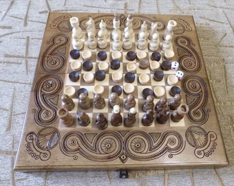 AWESOME Wooden inlaid 3 in 1 chess backgammon checkers game board set handmade d474