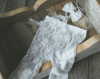 Newborn White Lace Stretch Leggings and Headband, stretch lace pants, baby girl prop, Photography Photo Prop Baby