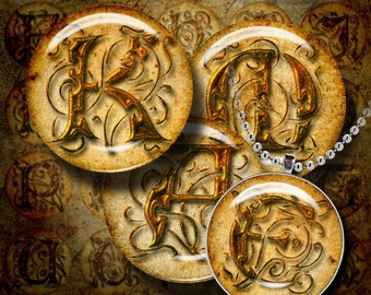 Digital Collage Sheet - CHAMBORD grunge rusty alphabet set - 30 Circles 1.5 inch - 38mm or smaller available - see promo
