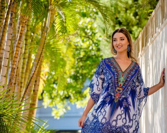Blue Kaftan / short dress, dress, kaftan, resort wear