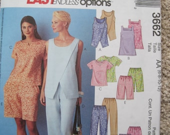UNCUT Misses / Miss Petite Tops, Tunic, Pull-On Capri Pants and Shorts - Size 6, 8, 10, 12 - McCalls Pattern 3662