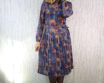 Vintage NEW 70s Lazarus od London Paterned Abstract Dress
