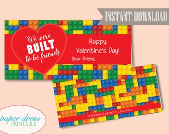 INSTANT Download - We were built to be friends Valentine - Building Block Treat Bag Topper - Printable PDF File