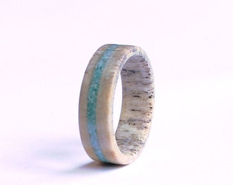 Antler Ring, Wedding Ring With Turquoise Inlay,  Deer Antler Wedding Band