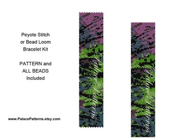Bracelet Kit for Bead Loom Weaving or Peyote Stitch - NP6 - Peyote Bracelet Kit - Loom Bracelet Kit - Pattern and Beads Included