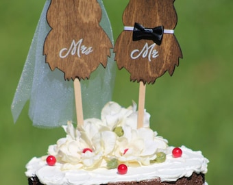 Owl Wedding Cake Topper  Mr & Mrs -  Rustic Country Chic Wedding