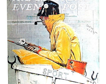 Sport, Man Fishing in the Rain - Vintage Book Page - 1976 Norman Rockwell Print