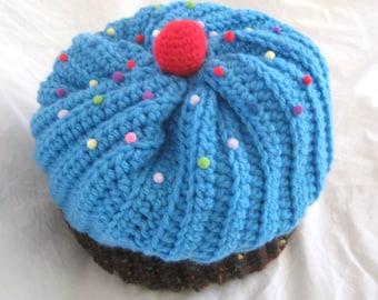 Crochet Cupcake Hat, Bright Blue Cupcake Hat With Chocolate Cake