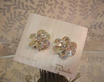 vintage mid century beaded swarovski and rhinestone earrings . crystal ab earrings by Pakula MINT on original card wedding bridal jewelry
