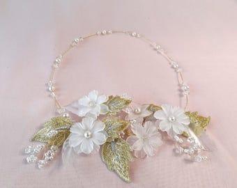 Bridal hair wreath, bridal headpiece, flower crown, gold wedding, halo, flower wreath, Boho bridal, Bohemian wedding,  Style 448