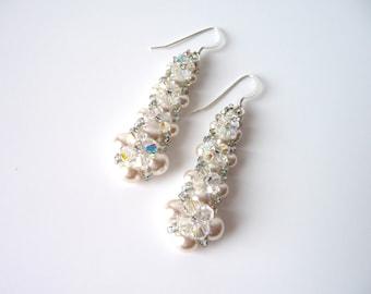 Swarovski Pearl and Crystal Earrings, Pearl Bridal Jewelry, Unique Pearl Earrings, Wedding Jewelry, Dangle Earrings, Pearl Drop Earrings,