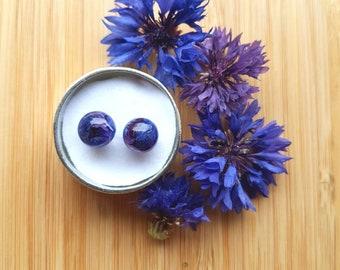 Blue & Purple Cornflower Petal Sphere Stud Earrings