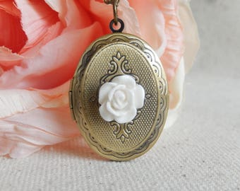 White Flower Locket necklace,Photo Locket necklace, Locket jewelry,Unique gift for her,Graduation gift girl,Women's jewelry