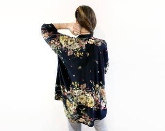 Black Floral Kimono, Boho Kimono, Kimono Jacket, Unique Black Kimono, Kimono Cardigan, Kimono Jacket, Elegant Boho Jacket