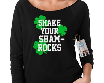 Shake Your Shamrocks St. Patrick's Day Women's Long Sleeve Off The Shoulder Top