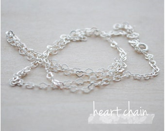 """Sterling Silver Chain - Plain Chain Necklace - 16"""" or 18"""" Heart Chain Necklace"""