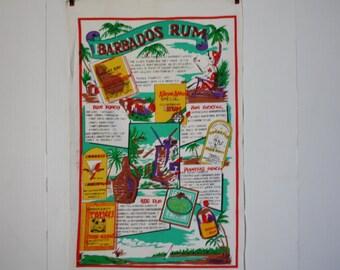 Vintage Bar Towel Barbados Rum Cotton Mid Century Tea Towel