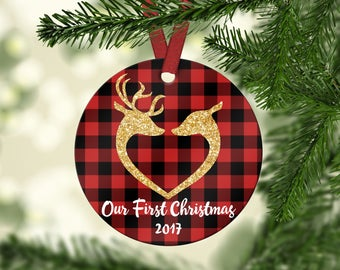 Our First Christmas Ornament.Ornament.First Christmas Married Ornament.Custom Ornament.Wedding Ornament.