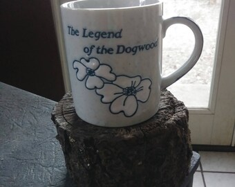 "Vintage Mug ""The Legend of the Dogwood"" Coffee Mug Cup Religious Blue Speckled Stoneware mug gift hot chocolate coffee tea hot beverages"