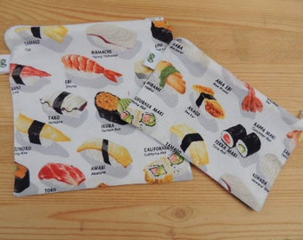 Reusable Reuse Zipper Sandwich & Snack bags Eco Friendly Set of 2 Japanese Sushi lover Print Robert Kaufman Asian print groovygurls