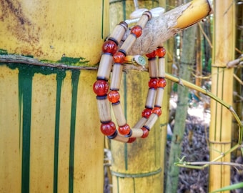 Kauai Bamboo Jewelry - Hawaiian Bamboo and Carnelian Bracelet