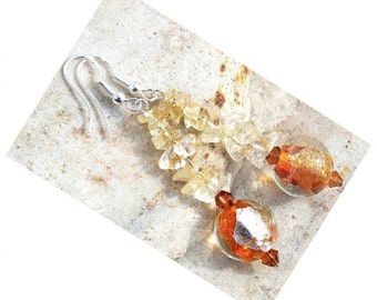 Summer Earrings Citrine Earrings Gemstone Earrings Genuine Murano Glass Earrings Gorgeous Orange Lampwork Glass Jewelry Sterling Silver gift