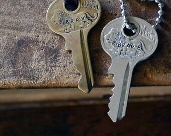 Key of Bravery - Brass Lion Key - Masterlock Key Necklace - Hand-stamped Key - Prohibition Key - Antique Key Necklace - Vintage Key Necklace