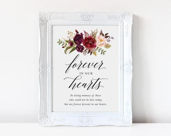 Printable In Loving Memory Sign | Forever in our Hearts Sign, Memorial Table Sign, Marsala, Instant Download