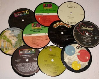 Set of Ten Vinyl Record Coasters Fun Radio Rock with Three Dog Night,Linda Ronstadt,Chicago, Deep Purple and More Free Shipping