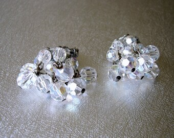 Crystal Earrings Glass Beaded Cha Cha Cluster Clip Back Bead Dangle Vintage Costume Jewelry Cocktail Prom Pageant Formal Cocktail New Years