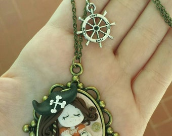 Gift idea Polymer Clay Pirate doll Necklace gift Idea