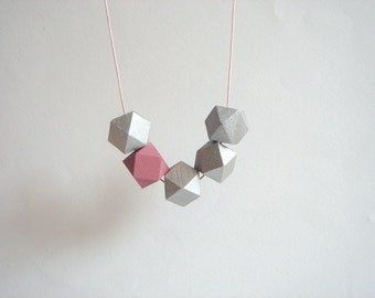 Silver Geometric Necklace ,Handpainted Wood Geometric Necklace,Geometric Jewelry