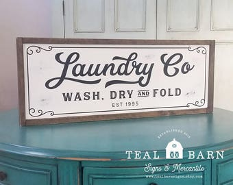 Laundry Co Wash Dry and Fold Sign -- Farmhouse Magnolia Fixer Upper Joanna