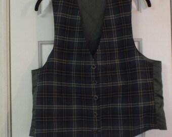 Women's Green Plaid Vest Preppy Reversible