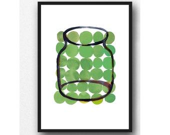Watercolor Green Kitchen art, Green wall art, Kitchen decor, modern Kitchen art, green Kitchen wall art print,  gift for her