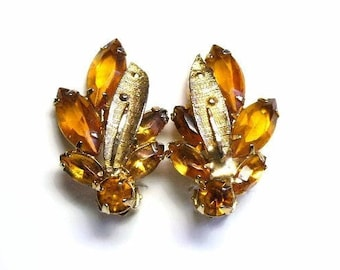 Rhinestone Clip Earrings in Navette & Chaton Cognac Topaz Crystals Prong Set Gold Leaf Design  - Vintage 50's Costume Jewelry